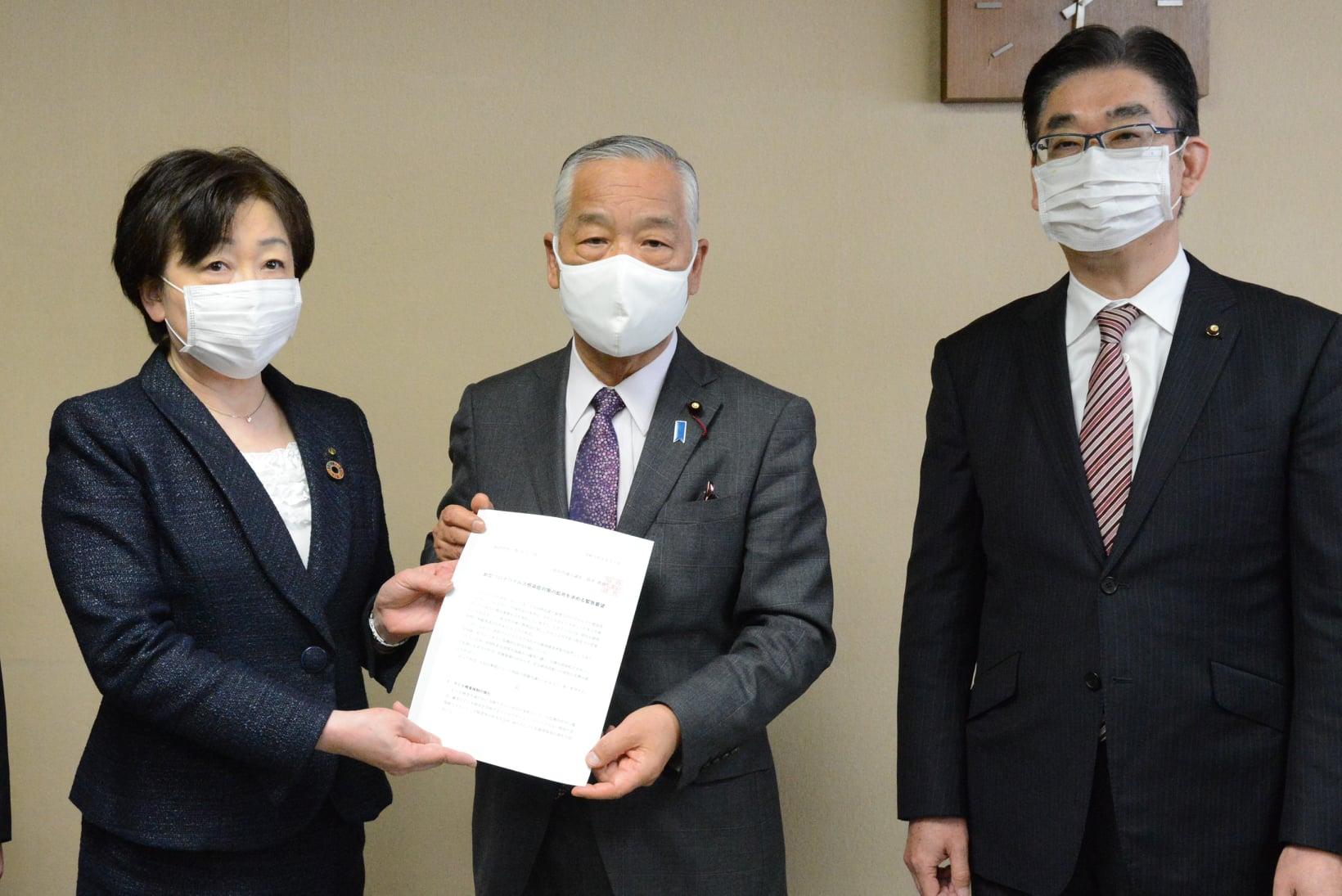 令和3年3月31日  郡仙台市長に対し、仙台市議会主要各会派の代表とともに仙台市議会議長として、新型コロナウイルスの感染症対策の拡充を求める緊急要望をおこないました。